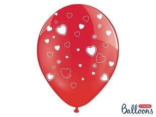 Baloni 30 cm Hearts Crystal Poppy, sarkani, 6 gab.