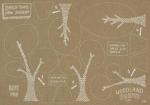 Dekorāciju komplekts Woodland, 1 kaste/ 40 pac (1 pac/2 papīra pamatnes + 12 figūriņas)