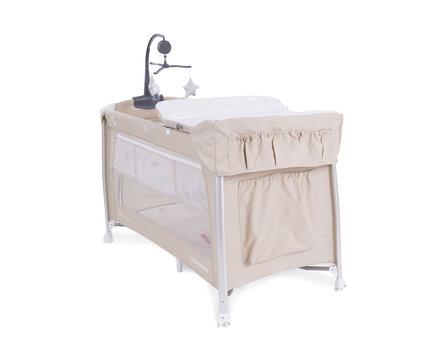 Ceļojuma gultiņa manēža ar diviem līmeņiem apakšā Kikkaboo Dessine Moi Beige cena un informācija | Manēžas | 220.lv