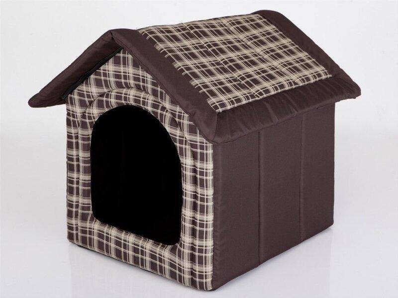 Gultiņa-būda Hobbydog R4 rūtis, 60x55x60 cm, brūna