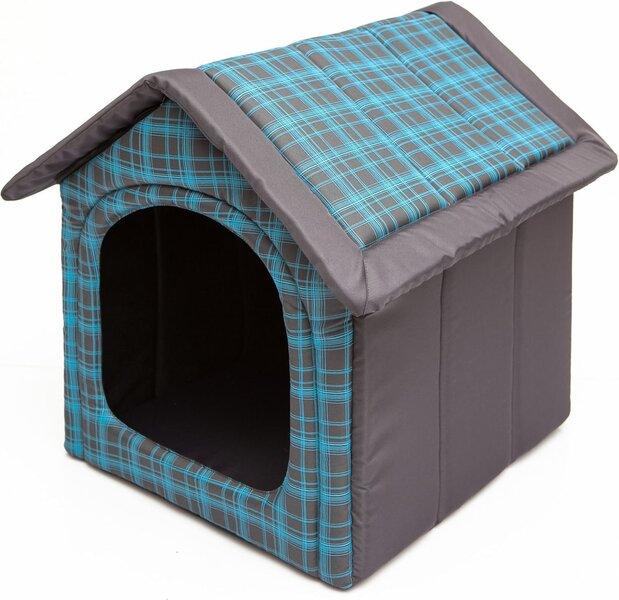 Gultiņa-būda Hobbydog R4 rūtis, 60x55x60 cm, pelēka/zila