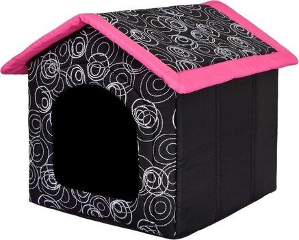 Gultiņa-būda Hobbydog R3, 52x46x53 cm, melna/rozā