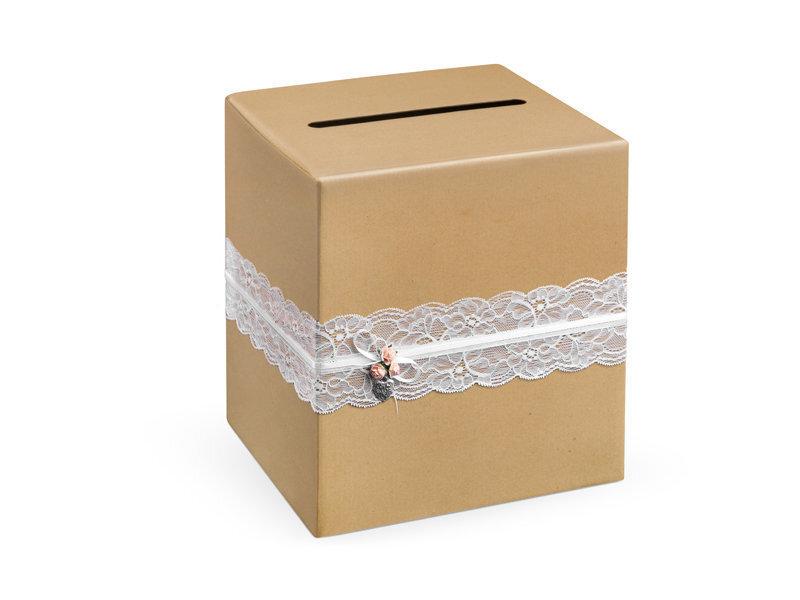 Novēlējumu kastīte Vintage, 24 x 24 x 24 cm, brūna (1 kaste/ 40 gab.)