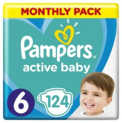 Подгузники PAMPERS Active Baby-Dry, Monthly Box, 6 размер, 13-18 кг, 124 шт.