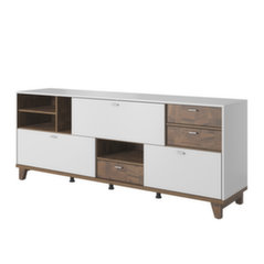 Kumode Bosfor, balta/brūna цена и информация | Шкафчики в гостиную | 220.lv