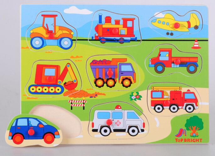 Top Bright koka puzle ar figūrveida gabaliņiem Transportlīdzekļi, 9 gab.