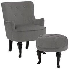 Krēsls ar pufu Notio Living Dallas, pelēks cena un informācija | Atpūtas krēsli | 220.lv
