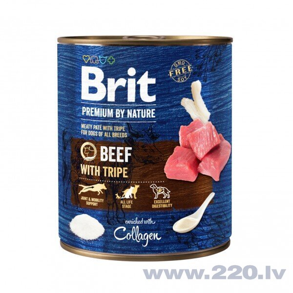 Brit Premium by Nature konservi suņiem Beef with Tripes 800g