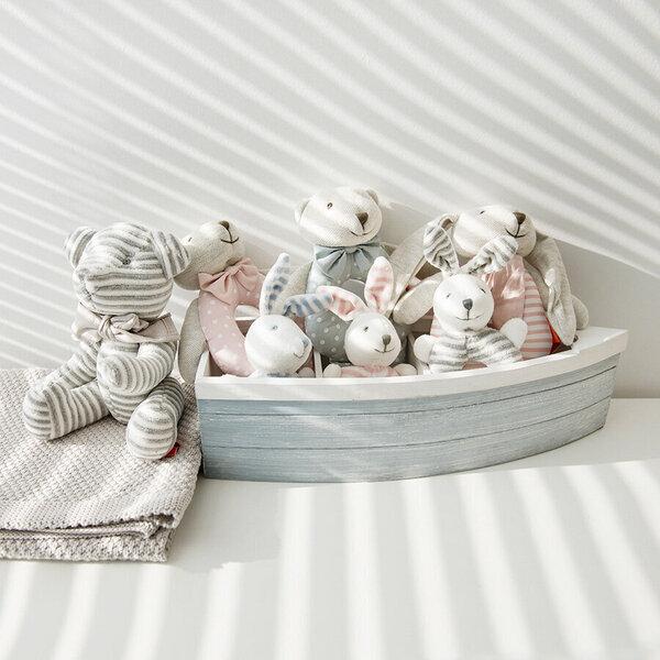 Mīkstā rotaļlieta-grabulis Zaķis Smiki, 6401020, 15 cm