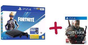 Sony PlayStation 4 (PS4) Slim, 500 GB + Fortnite Neo Versa + The Witcher 3: Wild Hunt cena un informācija | Spēļu konsoles | 220.lv