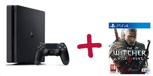 Sony PlayStation 4 (PS4) Slim, 1TB + The Witcher 3: Wild Hunt cena un informācija | Spēļu konsoles | 220.lv