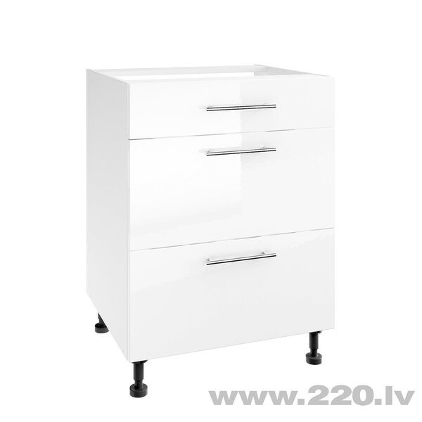 Virtuves skapītis Lupus Luna Gloss 3S 60 cm, balts