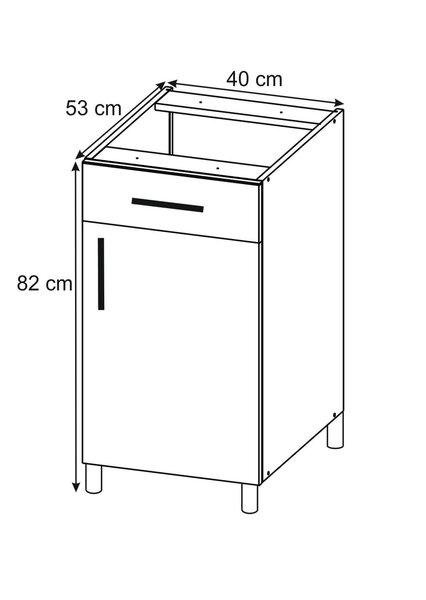 Virtuves skapītis Lupus Luna 1D1S 40 cm, ozola krāsas cena