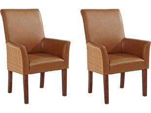 2-u krēslu komplekts Notio Living Matrix, ar roku balstiem, brūns cena un informācija | Virtuves un ēdamistabas krēsli | 220.lv