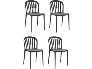 4-u krēslu komplekts Notio Living Linz, melns cena un informācija | Virtuves un ēdamistabas krēsli | 220.lv