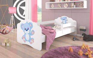 Bērnu gulta ar noņemamu aizsargu ADRK Furniture Casimo Blue Bear, 80x160cm cena un informācija   Bērnu gulta ar noņemamu aizsargu ADRK Furniture Casimo Blue Bear, 80x160cm   220.lv