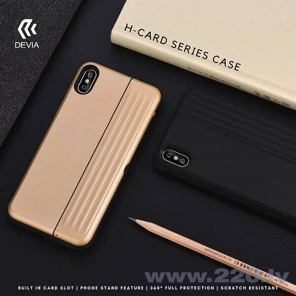 Devia H-Card Series Case iPhone XS Max (6.5) gold internetā