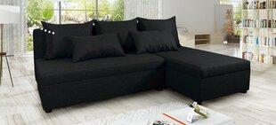 Stūra dīvāns Fampra Hawana, melns cena un informācija | Stūra dīvāni | 220.lv