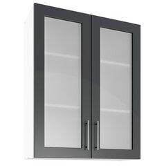 Sienas vitrīna skapītis Lupus Luna Max 2D 80 cm, pelēks cena un informācija | Virtuves skapīši | 220.lv
