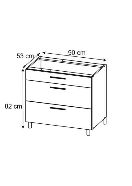 Virtuves skapītis Lupus Lignum 3S 90 cm, balts/ozola krāsas internetā