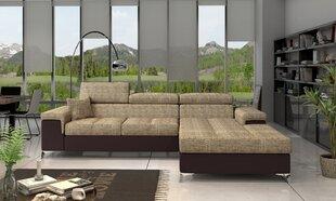 Stūra dīvāns NORE Ricardo, gaiši brūns/tumši brūns cena un informācija | Stūra dīvāni | 220.lv