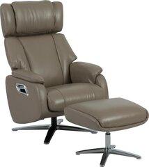 Krēsls ar pufu Dr Max by ARIMAX DM02009, gaiši brūns cena un informācija | Krēsli viesistabai | 220.lv