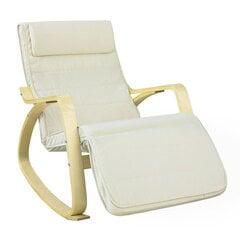 Šūpuļkrēsls SoBuy FST16-W, krēmkrāsas/brūns cena un informācija | Krēsli viesistabai | 220.lv