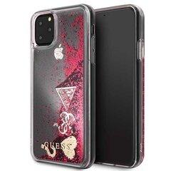 Guess GUHCN65GLHFLRA iPhone 11 Pro Max raspberry hard case Glitter Hearts (Red) cena un informācija | Maciņi, somiņas | 220.lv