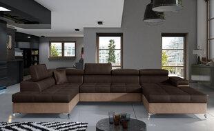 Stūra dīvāns NORE Eduardo, tumši brūns/brūns cena un informācija | Stūra dīvāni | 220.lv