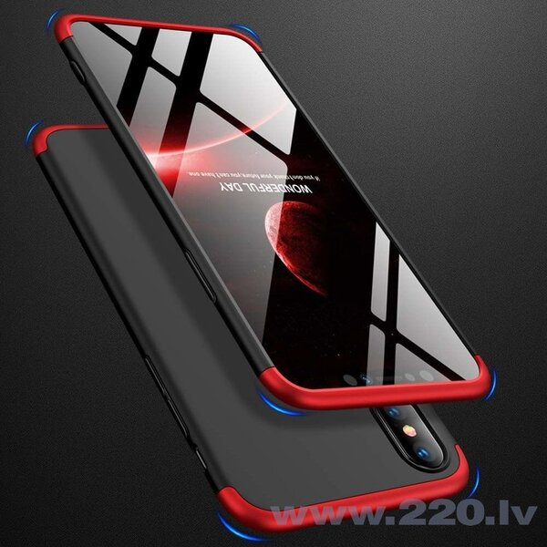 GKK 360 Protection Case Front and Back Case Full Body Cover iPhone XS Max black-red (Black || Red) lētāk
