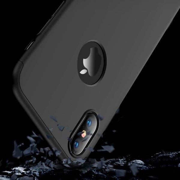 GKK 360 Protection Case Front and Back Case Full Body Cover iPhone XR black (logo hole) (Black) cena