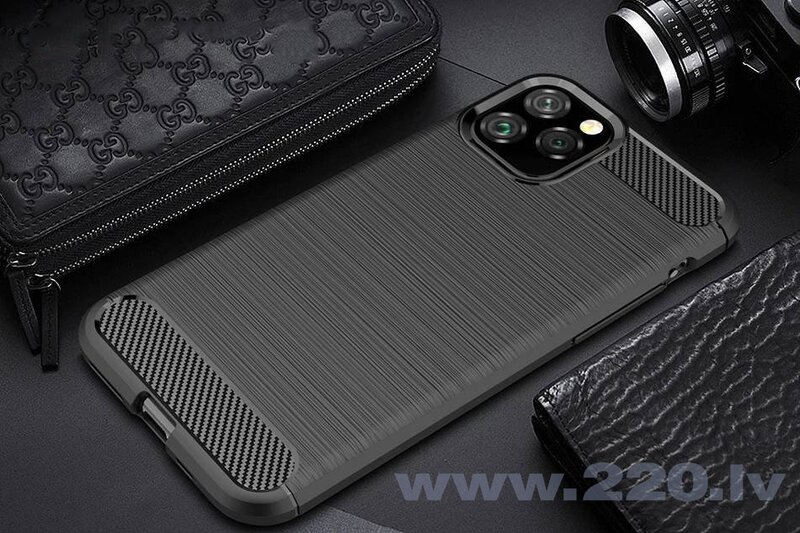 Carbon Case Flexible Cover TPU Case for iPhone 11 Pro black (Black)
