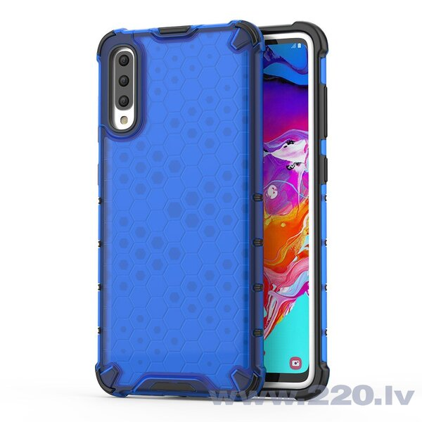 Honeycomb Case armor cover with TPU Bumper for Samsung Galaxy A70 blue (Blue)