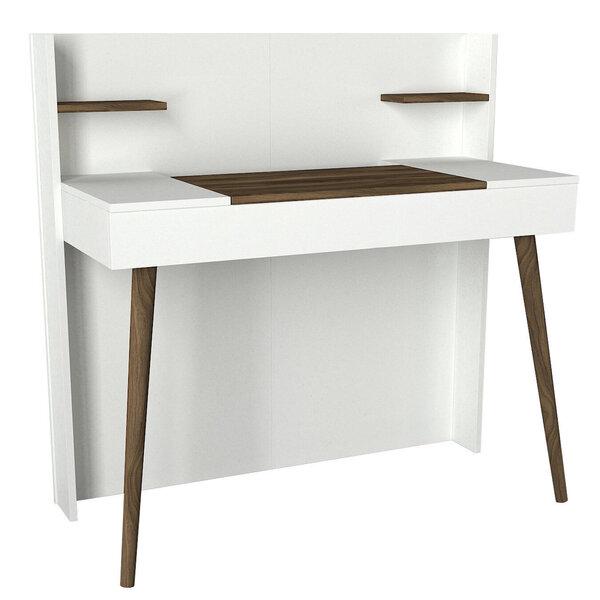 Kosmētikas galdiņš ar spoguli Kalune Design Retro, brūns/balts internetā