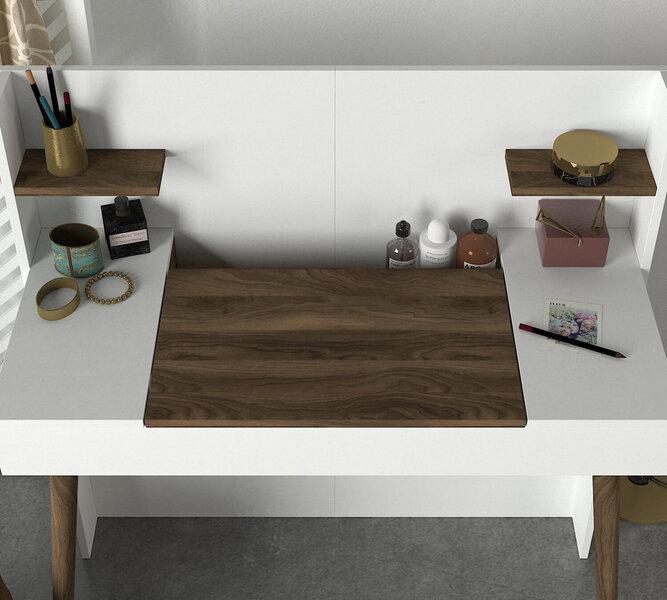 Kosmētikas galdiņš ar spoguli Kalune Design Retro, brūns/balts