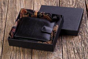 Мужской кошелек из натуральной кожи M52BD+подарочная упаковка+шелковый платок цена и информация | Оригинальные подарки для мужчин | 220.lv