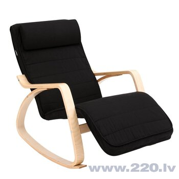 Šūpuļkrēsls Songmics 115 cm, melns cena un informācija | Atpūtas krēsli | 220.lv