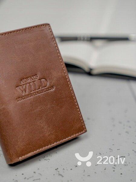 Vīriešu dabīgas ādas maks Always Wild, brūns cena un informācija | Vīriešu maki, karšu maki | 220.lv