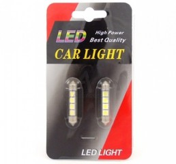 Car Light spuldzes SV8.5 12V 41mm LED4 (2gab) baltas