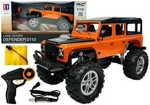 Automobilis Land Rover Defender 4x4 ar tālvadības pulti 1:14, oranžs cena un informācija | Automobilis Land Rover Defender 4x4 ar tālvadības pulti 1:14, oranžs | 220.lv