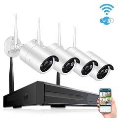 2MPx4 WiFi IP kameras videonovērošanas komplekts cena un informācija | 2MPx4 WiFi IP kameras videonovērošanas komplekts | 220.lv