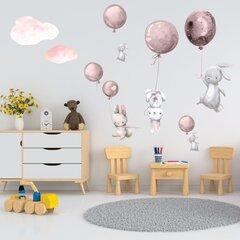 Interjera uzlīme - Zaķi un rozā baloni cena un informācija | Dekoratīvās uzlīmes | 220.lv