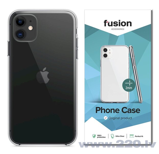 Fusion Ultra Clear Series 2 mm Silikona Aizsargapvalks Apple iPhone 11 Pro Max Caurspīdīgs (EU Blister)