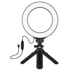 Gredzena formas lampa LED 16 cm, ar trijkāju statīvu līdz 12-14.5 cm, USB cena un informācija | Apgaismojums fotografēšanai | 220.lv