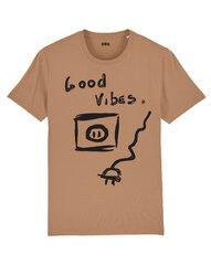 Unisekss T-krekls Good Vibes, gaiši brūns cena un informācija | T-krekli sievietēm | 220.lv
