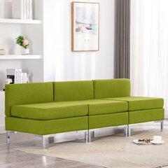 vidaXL vidējie dīvāni, 3 gab., ar spilveniem, zaļš audums cena un informācija | Dīvāni | 220.lv