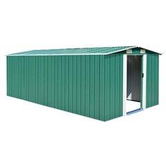 vidaXL dārza šķūnis, 257x497x178 cm, zaļš metāls cena un informācija | Mājiņas/novietnes malkai un instrumentiem | 220.lv