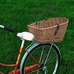 vidaXL velosipēda aizmugurējais grozs ar pārsegu, 55x31x36 cm, vītols cena un informācija | Velo bagāžnieki | 220.lv