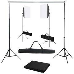 vidaXL fotostudijas komplekts – gaismas izkliedētāji un fons cena un informācija | Apgaismojums fotografēšanai | 220.lv