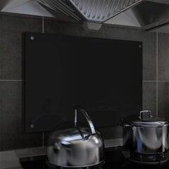 vidaXL virtuves sienas panelis, 70x50 cm, rūdīts stikls, melns cena un informācija | vidaXL virtuves sienas panelis, 70x50 cm, rūdīts stikls, melns | 220.lv